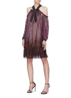 Needle & Thread 'Kaleidoscope' sequin stripe off-shoulder dress