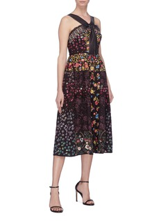 Needle & Thread Floral embellished patchwork dress