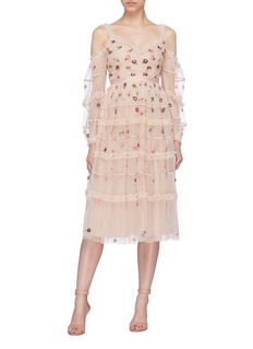 Needle & Thread 'Celeste' floral embroidered ruffle tulle off-shoulder dress