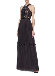 Needle & Thread 'Esther' floral embellished tulle gown