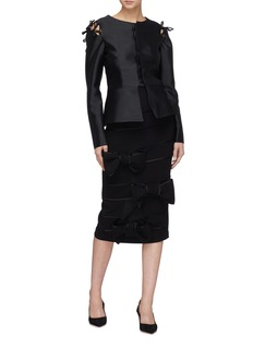 Leal Daccarett 'Fatima' bow tie shoulder silk-wool satin peplum jacket