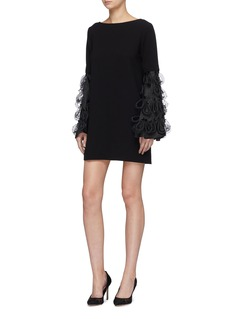 Leal Daccarett 'Paloma' detachable flared tassel silk organza sleeve dress