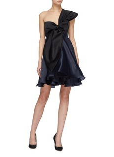 Leal Daccarett 'Lirio' colourblock bow silk satin one-shoulder dress