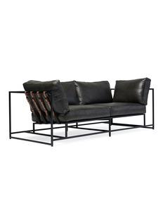 Stephen Kenn Studio Smoke leather & blackened steel two seat sofa