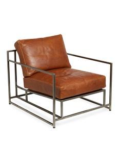 Stephen Kenn Studio Tan leather & antique nickel armchair