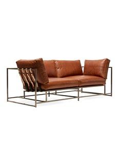 Stephen Kenn Studio Tan leather & antique nickel two seat sofa