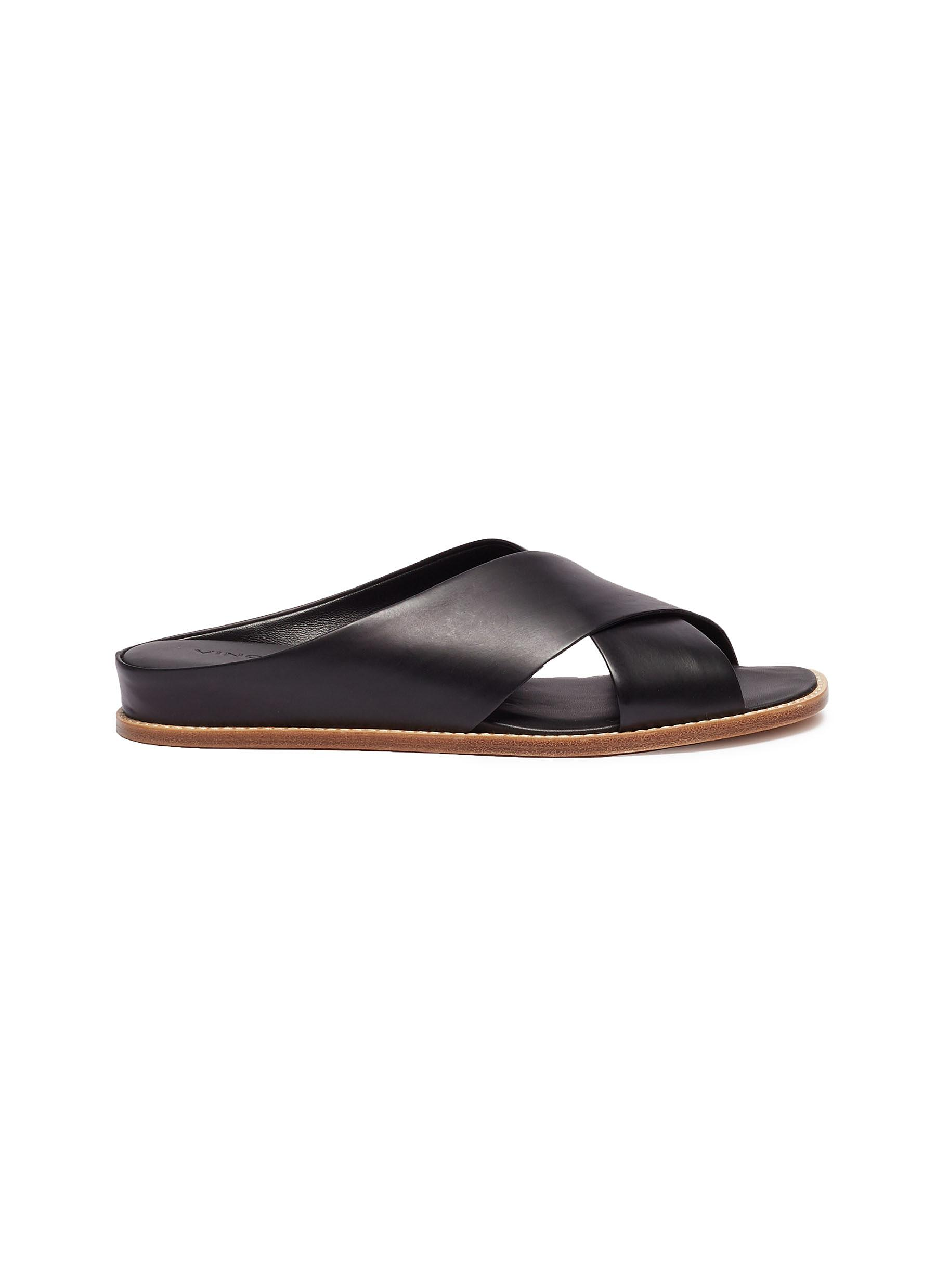 Fairley cross strap leather slide sandals by Vince