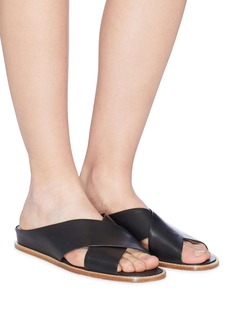 Vince 'Fairley' cross strap leather slide sandals
