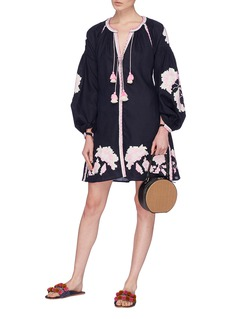 March11 'Rose Power' belted floral embroidered mini dress
