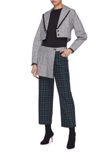 Sandy Liang 'Lizzie' lace trim houndstooth check plaid cropped blazer