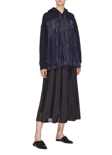 RHIÉ 'Foncy' pleated charmeuse panel hoodie