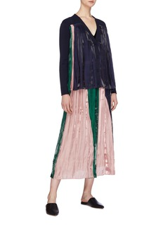 RHIÉ Colourblock pleated charmeuse panel cardigan