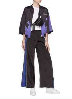 Opening Ceremony Zip cuff stripe outseam satin wide leg track pants