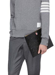 Thom Browne Animal embossed leather document holder