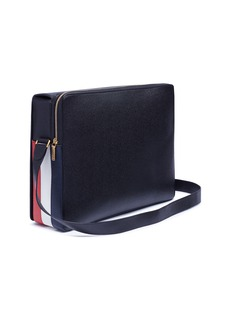 Thom Browne Stripe gusset pebble grain leather messenger bag