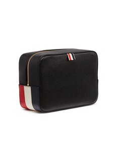 Thom Browne Stripe panel leather wash bag