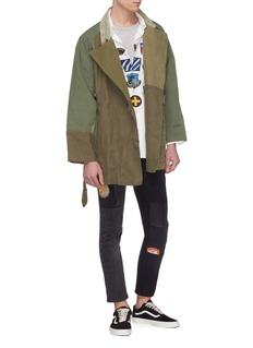 Children of the discordance  Belted colourblock patchwork peacoat