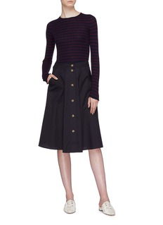 Vince Button front pleated poplin A-line skirt