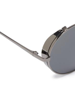 Detail View - Click To Enlarge - LINDA FARROW - Spoiler metal round aviator sunglasses