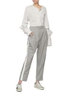 bassike Stripe outseam pleated front twill pants