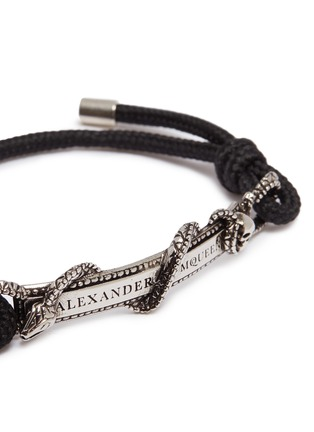 Detail View - Click To Enlarge - ALEXANDER MCQUEEN - Logo skull snake bar bracelet