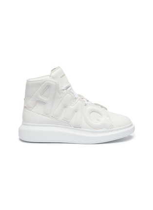 Main View - Click To Enlarge - ALEXANDER MCQUEEN - Chunky outsole logo panel leather high top sneakers