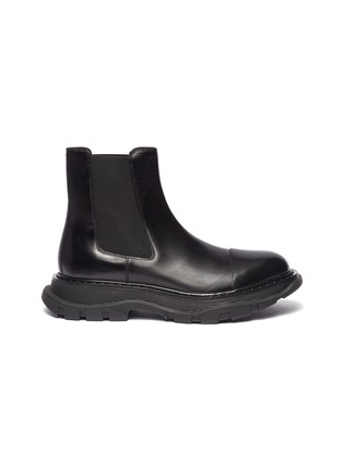 Main View - Click To Enlarge - ALEXANDER MCQUEEN - Panelled leather wedge Chelsea boots
