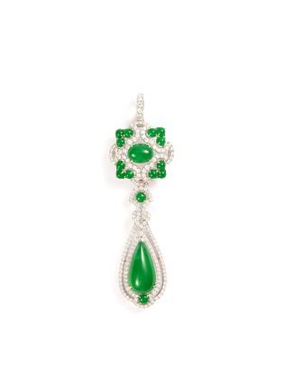 Main View - Click To Enlarge - SAMUEL KUNG - Diamond jade 18k white gold pendant