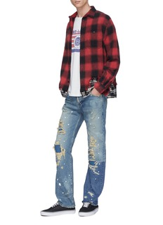 NOVE Paint splatter rip-and-repair straight leg jeans