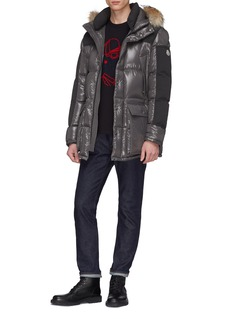 Moncler Coyote fur trim hood panelled down puffer jacket