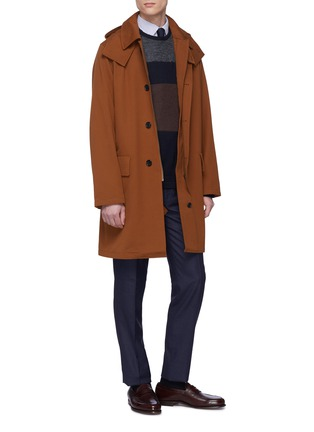 Figure View - Click To Enlarge - Tomorrowland - Detachable hood cotton-wool twill coat