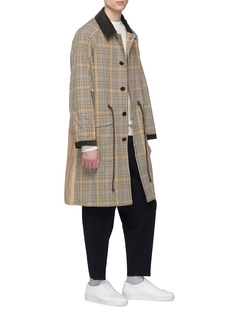 Tomorrowland Twill panel houndstooth check coat