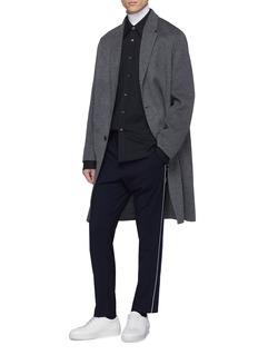 Solid Homme Cutout cuff asymmetric hem tartan plaid twill shirt