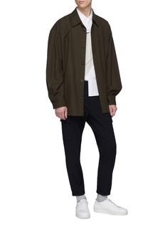 Solid Homme Belted wool twill shirt jacket