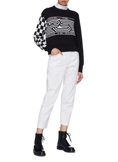 Proenza Schouler PSWL checkerboard sleeve graphic jacquard cropped sweater