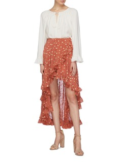Caroline Constas 'Adelle' ruffle star fil coupé silk high-low skirt