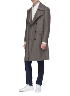 Eidos Double breasted wool melton trench coat