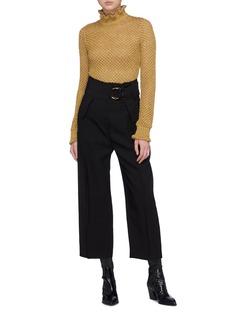 Philosophy di Lorenzo Serafini Metallic open knit ruffle high neck sweater