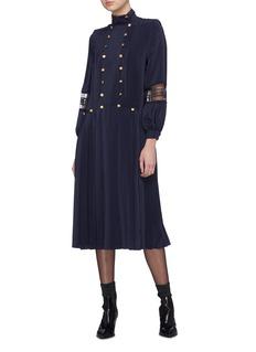 Philosophy di Lorenzo Serafini Lace panel pleated button dress