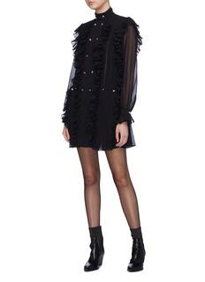 Philosophy di Lorenzo Serafini Ruffle trim glass crystal button pleated dress
