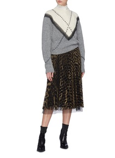 Philosophy di Lorenzo Serafini Lace trim chevron stitched colourblock sweater