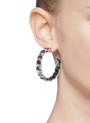 Figure View - Click To Enlarge - W. BRITT - Curb chain floral print ribbon hoop earrings