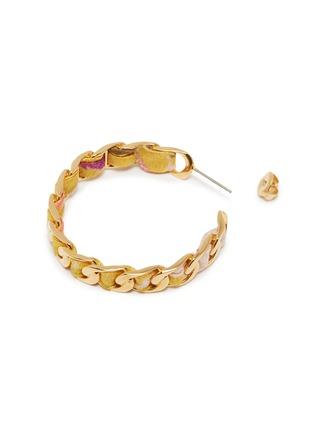 Detail View - Click To Enlarge - W. BRITT - Curb chain floral print ribbon hoop earrings
