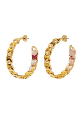Main View - Click To Enlarge - W. BRITT - Curb chain floral print ribbon hoop earrings