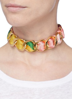 W.Britt Curb chain floral print scarf tie necklace