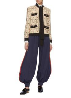 Gucci Rose print marocain pussybow jacket
