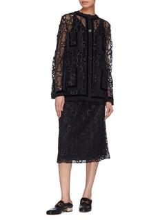 Gucci GG leather trim macramé skirt