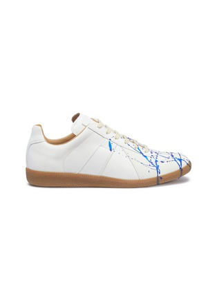 Main View - Click To Enlarge - MAISON MARGIELA - 'Replica' paint splatter leather sneakers