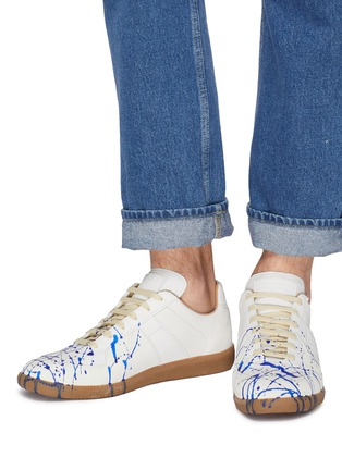 Figure View - Click To Enlarge - MAISON MARGIELA - 'Replica' paint splatter leather sneakers