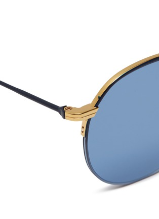 Detail View - Click To Enlarge - THOM BROWNE - Browbar metal round sunglasses